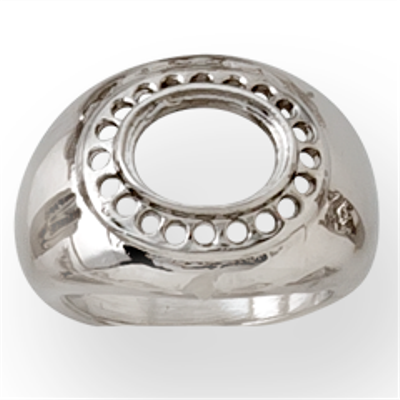 Lds Oval Ctr Ring w/ Melee