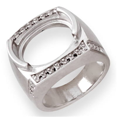 Lds Oval Half Bezel Fashion Ring